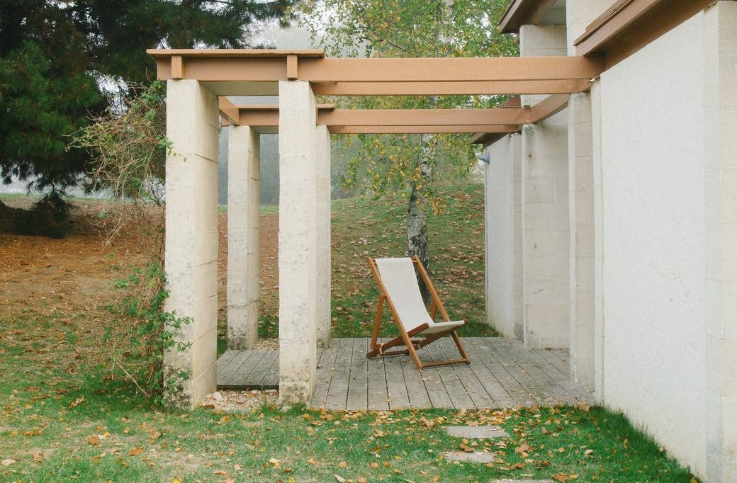 backyard of modern cottage with chair