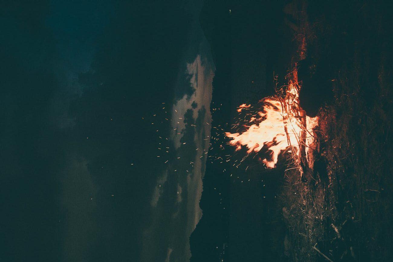 lit bonfire outdoors during nighttime