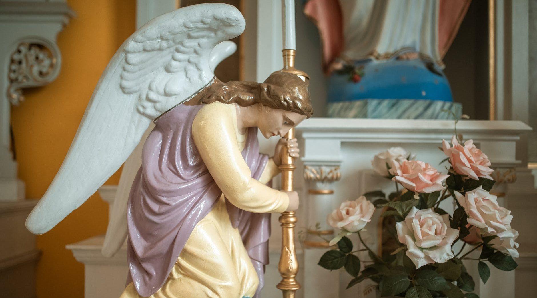 close up shot of an angel figurine